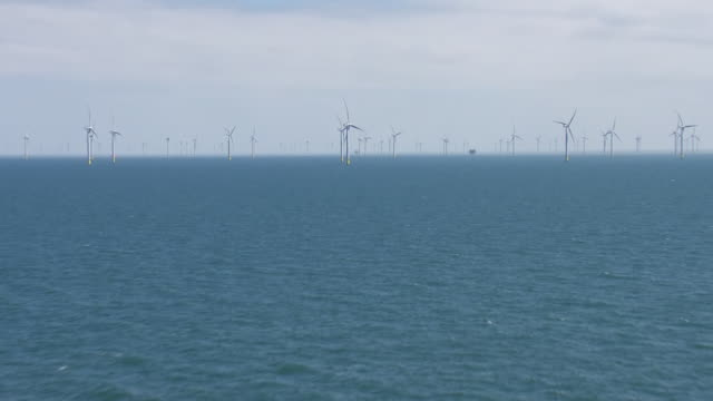 aerial views of wind turbines on an offshore wind farm on june 24 2019 at sea england - sea stock videos & royalty-free footage