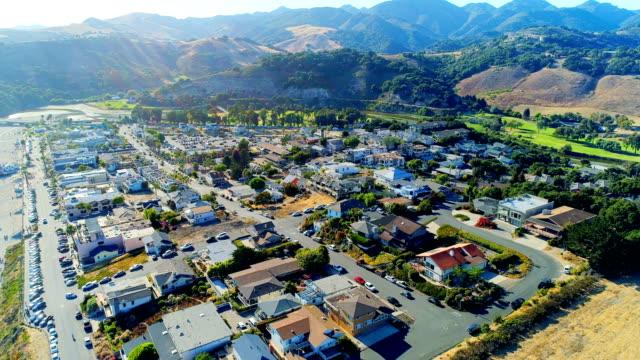 aerial views on avila beach - high street stock videos & royalty-free footage