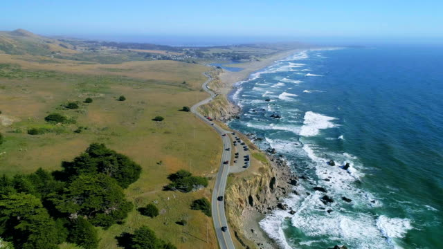 aerial views on pacific coast, north california - north pacific stock videos & royalty-free footage