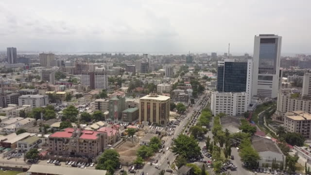 aerial views over lagos nigeria - nigeria stock videos and b-roll footage