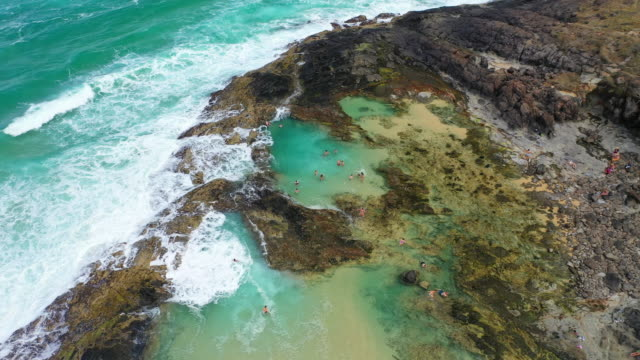 aerial views over the champaign pools of fraser island. backpackers play in the clear waters. - standing water stock videos & royalty-free footage