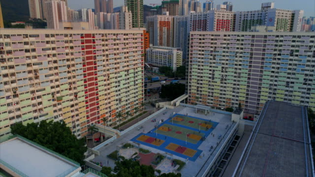 aerial views showing choi hung estate, hong kong - block shape stock videos & royalty-free footage