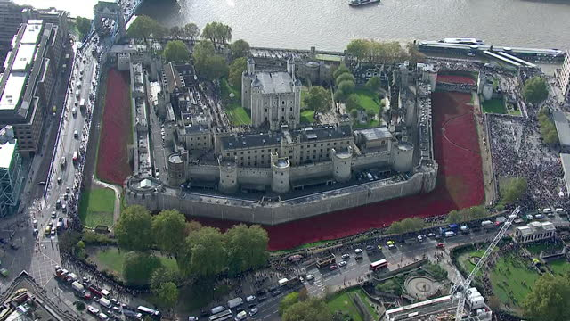 vídeos de stock, filmes e b-roll de aerial views tower of london with sea of red poppies in moat surrounded by tourists zoom in to soldiers working on flowers - rodeando