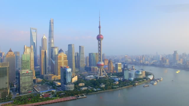 aerial view,shanghai skyline and huangpu river - the bund stock videos & royalty-free footage