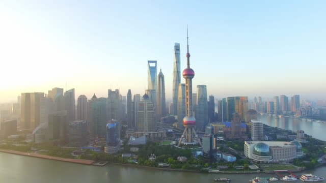 aerial view,shanghai skyline and huangpu river - river huangpu stock videos & royalty-free footage