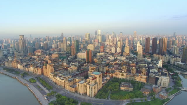 aerial view,shanghai skyline and huangpu river - shanghai stock videos & royalty-free footage