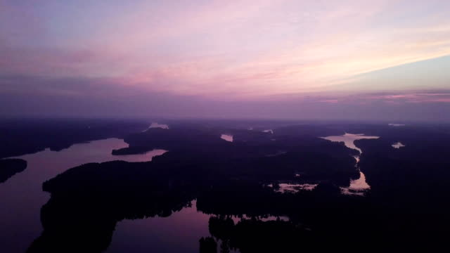 Aerial view:Sunrise over mountain lake
