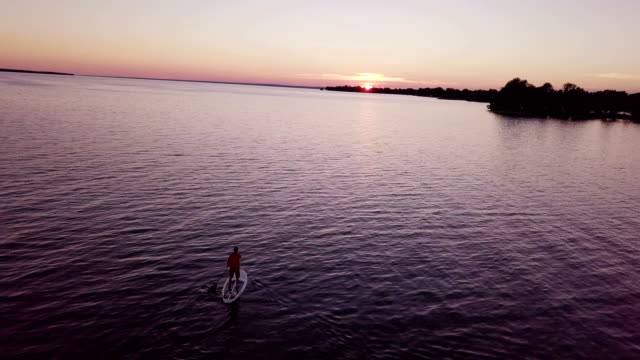 Aerial view:Sunset at Lake Simcoe, Canada