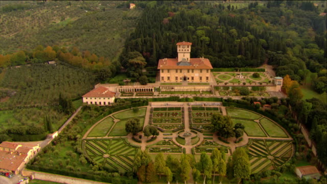vídeos y material grabado en eventos de stock de aerial villa della petraia (owned by the medici) and tuscan countryside / florence, italy - italian culture
