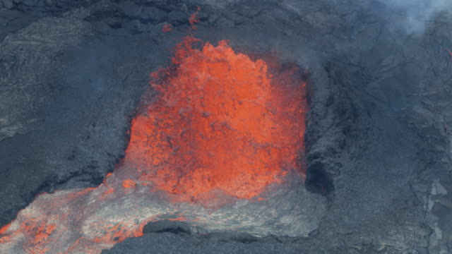 Aerial volcanic magma lava rocks formed by lava