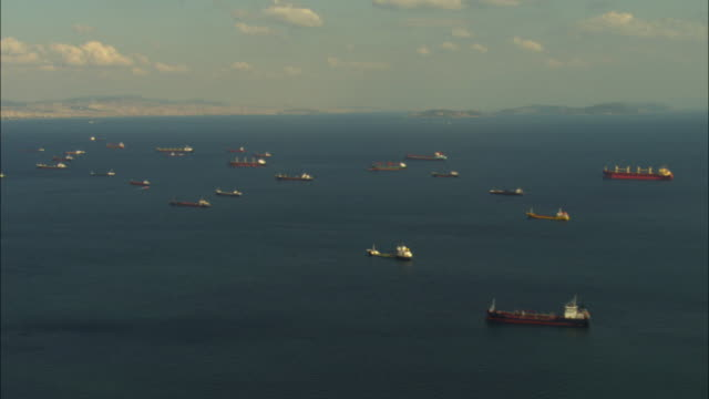 aerial ha wa pan ships to reveal istanbul - cargo ship stock videos & royalty-free footage