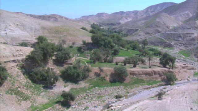 Aerial Wadi Kelt in the Judea Desert, Israel