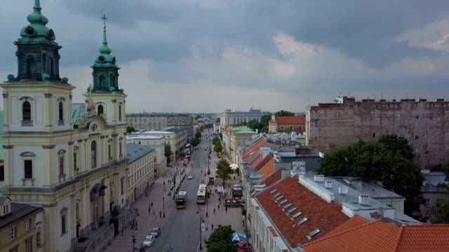 aerial / warsaw city center with churches, administrative buildings, museums, institutes / krakowskie przedmieście - warsaw stock videos & royalty-free footage