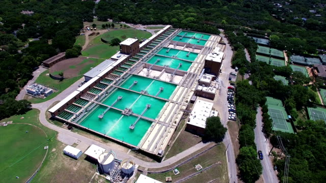 Aerial: Water Treatment Purification Plant Circling around the Austin Water Cleaning Plant