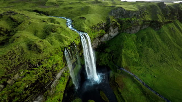 aerial waterfall, iceland - seljalandsfoss - seljalandsfoss waterfall stock videos and b-roll footage