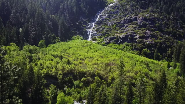 aerial, waterfall on mount shasta in california - western usa stock videos & royalty-free footage