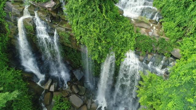 aerial waterfall - flowing water stock videos & royalty-free footage