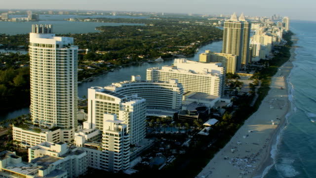 aerial waterfront fontainebleau hotel resort miami florida america - real estate stock videos & royalty-free footage