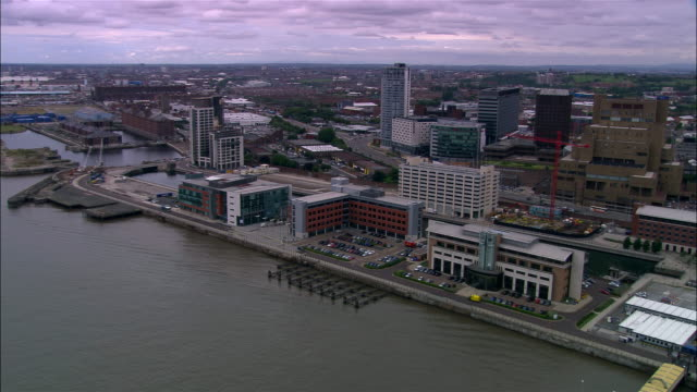 aerial waterfront/ liverpool, england - merseyside stock videos & royalty-free footage
