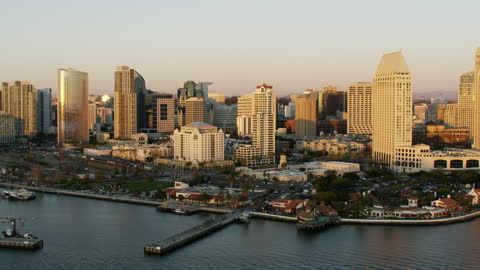 aerial waterfront sunset view of san diego bay - harbour stock videos & royalty-free footage