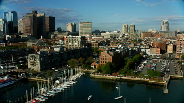 aerial waterfront view downtown city buildings boston america - massachusetts stock videos & royalty-free footage