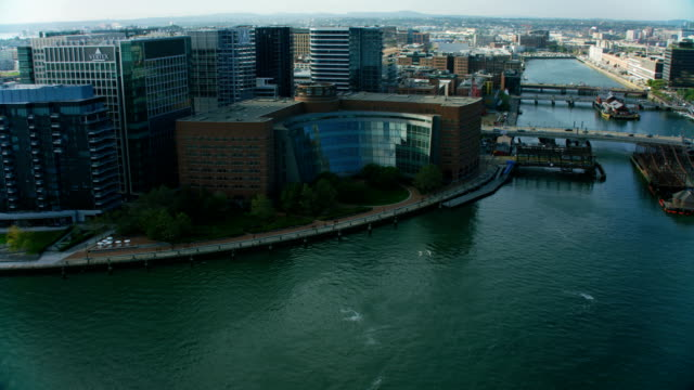 aerial waterfront view fan pier city buildings boston - courthouse stock videos & royalty-free footage