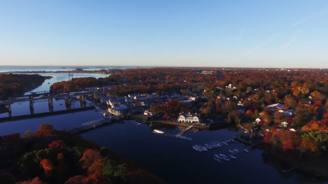 aerial, wealthy new england town - town stock videos & royalty-free footage
