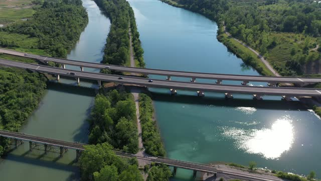 aerial welland canal and trail in port robinson, st. catharines, canada - niagara falls stock videos & royalty-free footage