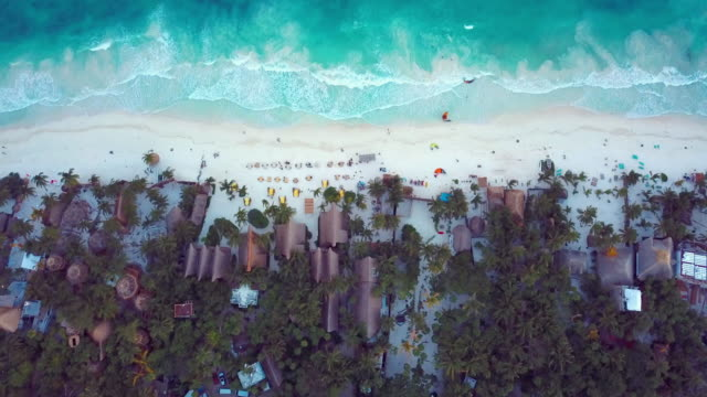 aerial: white beach front of tulum mexico beach - quintana roo stock videos and b-roll footage