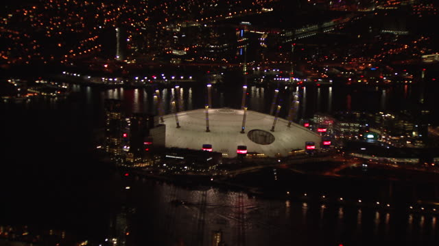 aerial wide and zoom in on the o2. - dome stock videos & royalty-free footage