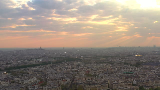 aerial wide angle view flying over paris france at sunrise - basilica stock videos & royalty-free footage