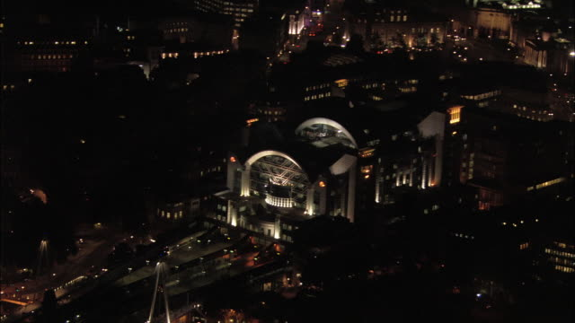 aerial wide shot charing cross railway station and surrounding area at night / london, england - charing cross stock videos and b-roll footage