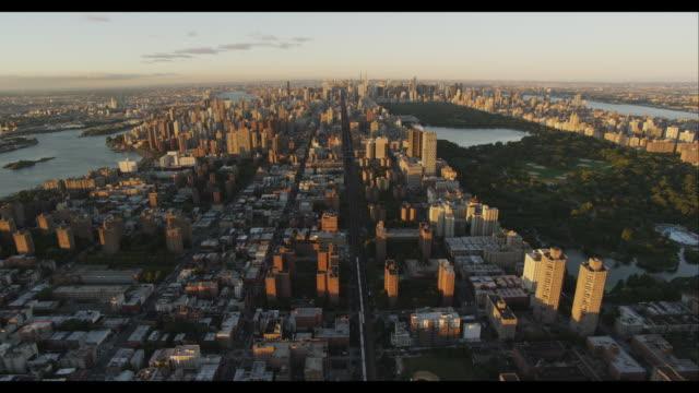 stockvideo's en b-roll-footage met aerial wide shot manhattan with central park - central park manhattan