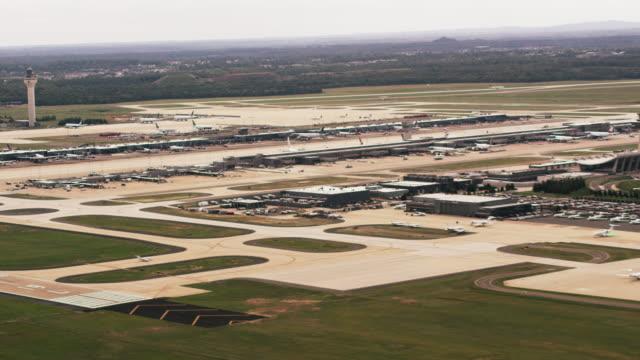 aerial wide shot of buffalo niagara international airport - buffalo new york state stock videos & royalty-free footage