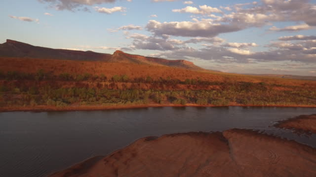 aerial wide shot of pentecost river and cockburn range - arid stock videos & royalty-free footage