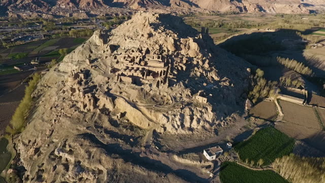 aerial wide shot of shar-e gholghola (the city of screams, city of sighs). - archaeology stock videos & royalty-free footage
