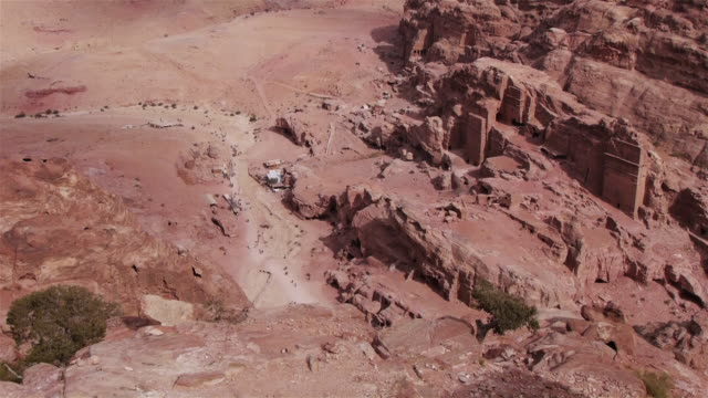 Aerial wide shot of the archaeological site in Petra, Jordan, Middle East.