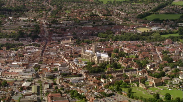 aerial wide shot over canterbury cathedral and the city of canterbury / kent, england - canterbury cathedral stock videos & royalty-free footage