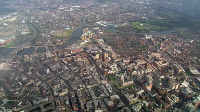 aerial wide shot pan belfast cityscape and river lagan/ northern ireland - belfast stock videos & royalty-free footage