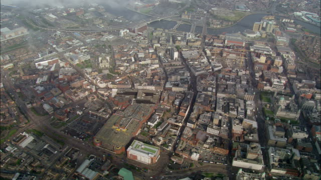 aerial wide shot pan belfast/ northern, ireland - northern ireland stock videos & royalty-free footage