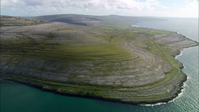 Aerial wide shot pan Burren Plateau / County Clare, Ireland