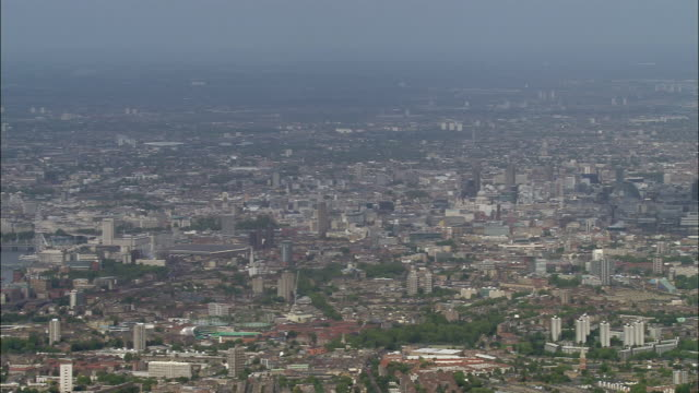 aerial wide shot pan central london cityscape / england - 2005 stock videos & royalty-free footage