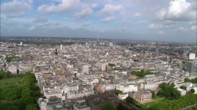 aerial wide shot pan central london from the mall / london, england - 2005 stock videos & royalty-free footage