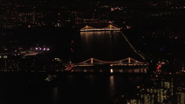 Aerial wide shot pan Chelsea and Battersea bridges / London. England