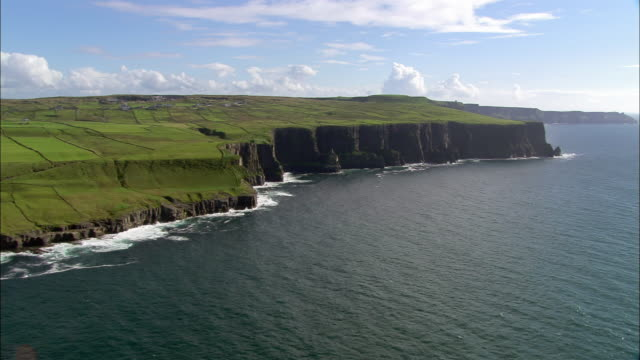 Aerial wide shot pan Cliffs of Moher / County Clare, Ireland