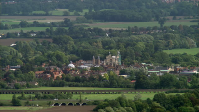 aerial wide shot pan eton college /  berkshire, england - eton berkshire stock videos and b-roll footage