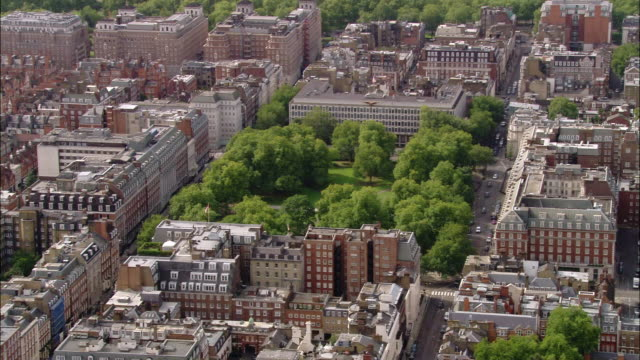 aerial wide shot pan grosvenor square and us embassy / london, england - us embassy stock videos & royalty-free footage