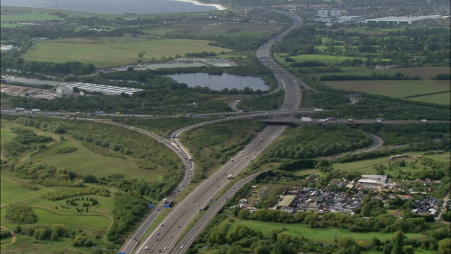 aerial wide shot pan juntion of m4 and m25 / london, england - m25 video stock e b–roll