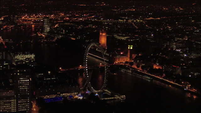 aerial wide shot pan millenium wheel, westminster bridge, and houses of parliament / london, england - parliament building stock videos & royalty-free footage