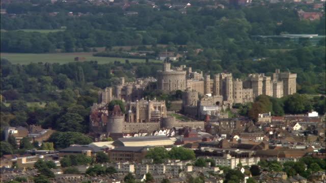 aerial wide shot pan windsor castle / berkshire, england - windsor castle stock videos and b-roll footage